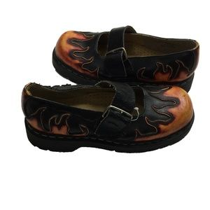Anarchic Flame Leather Buckle Goth Punk Cap Shoes